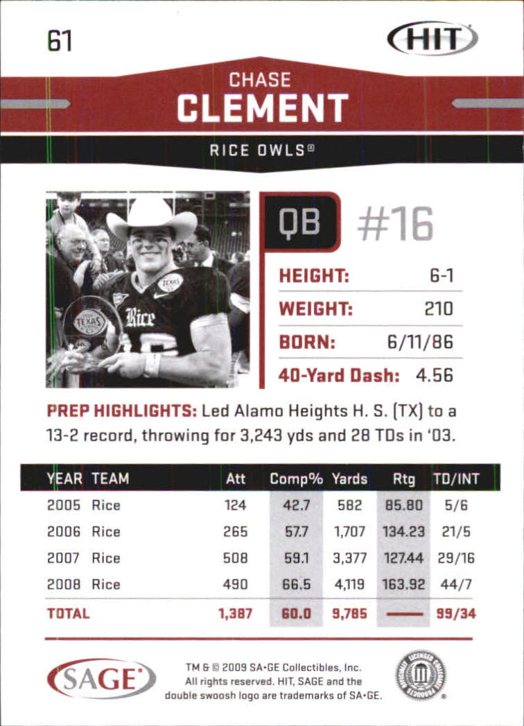2009 SAGE HIT #61 Chase Clement back image