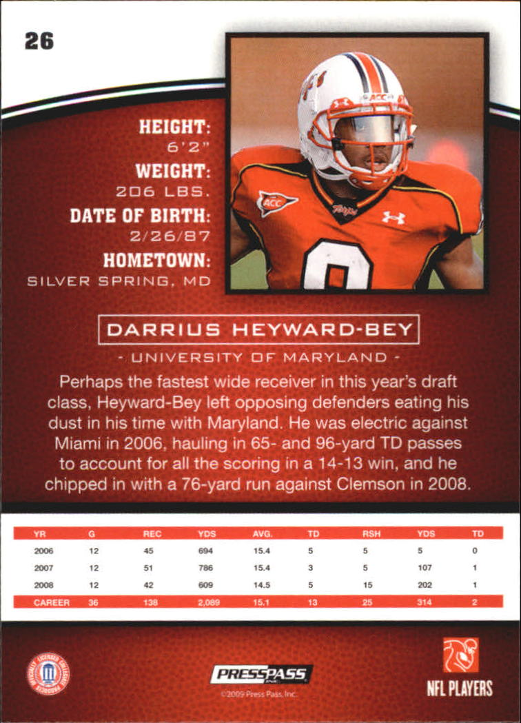 2009 Press Pass #26 Darrius Heyward-Bey back image