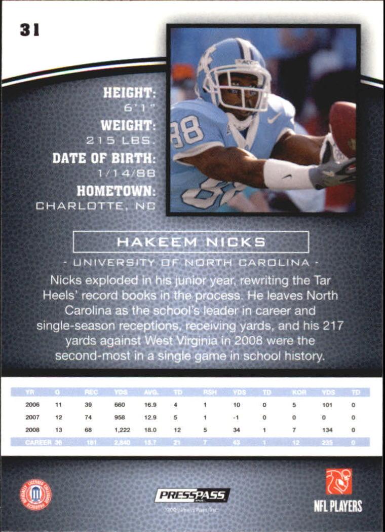 2009 Press Pass #31 Hakeem Nicks back image