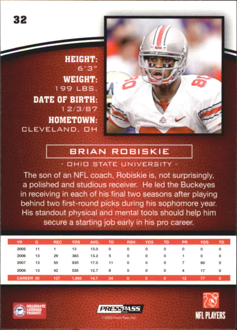 2009 Press Pass #32 Brian Robiskie back image