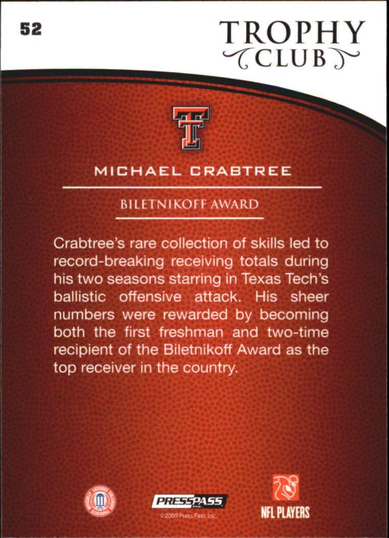 2009 Press Pass #52 Michael Crabtree TC back image