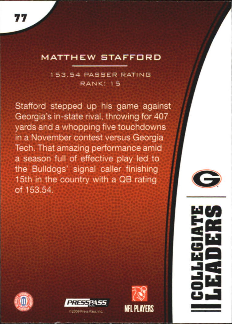 2009 Press Pass #77 Matthew Stafford LL back image
