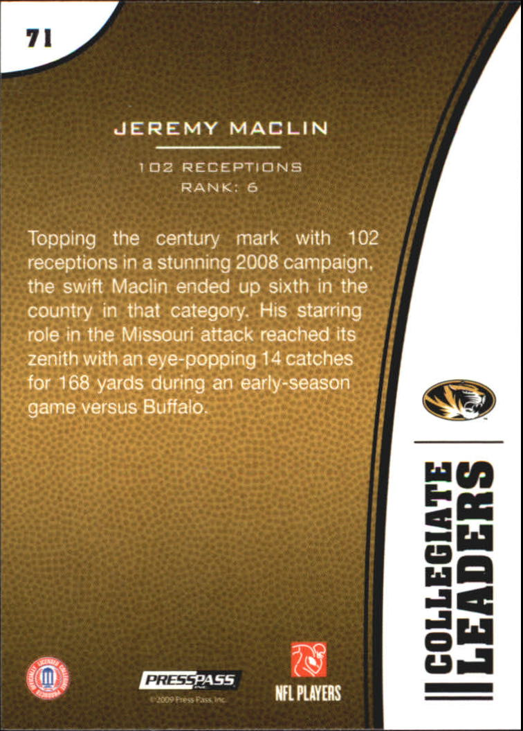 2009 Press Pass #71 Jeremy Maclin LL back image