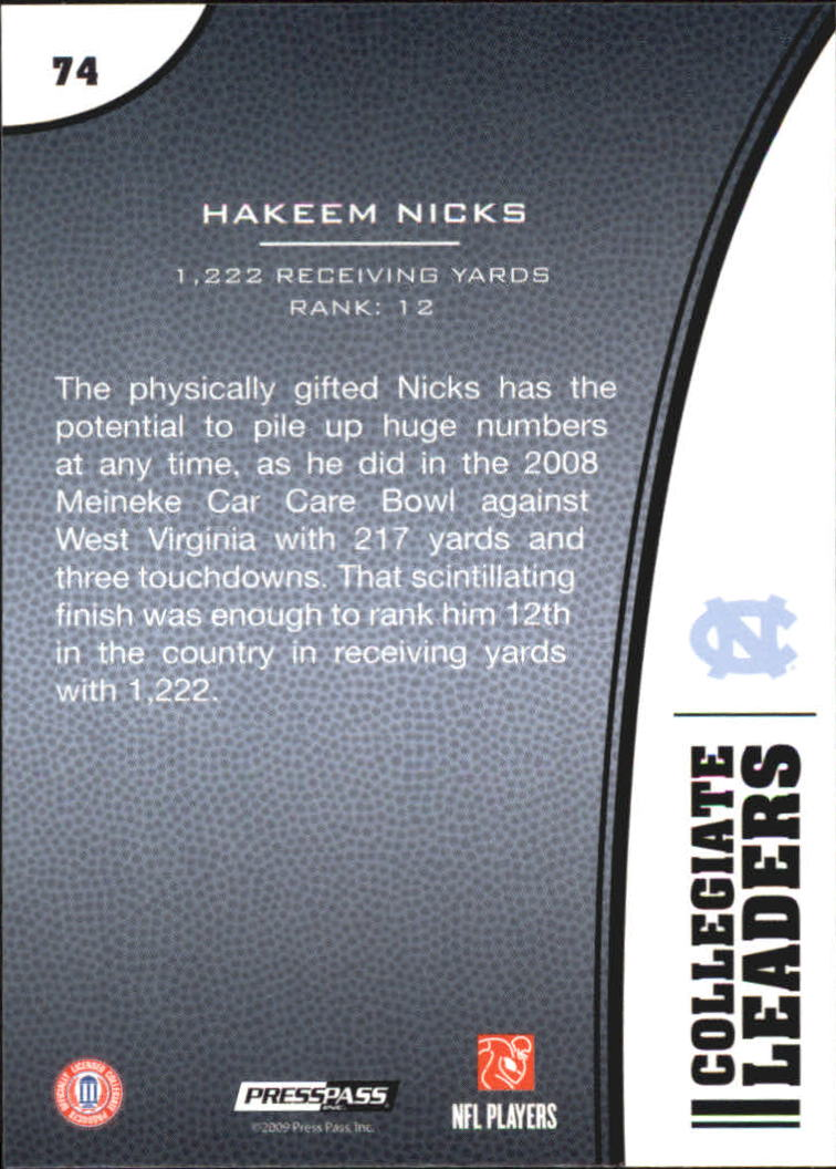 2009 Press Pass #74 Hakeem Nicks LL back image