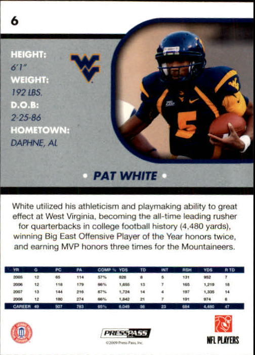 2009 Press Pass SE #6 Pat White back image