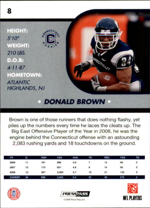 2009 Press Pass SE #8 Donald Brown back image