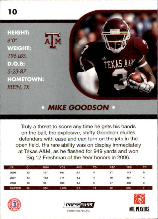 2009 Press Pass SE #10 Mike Goodson back image
