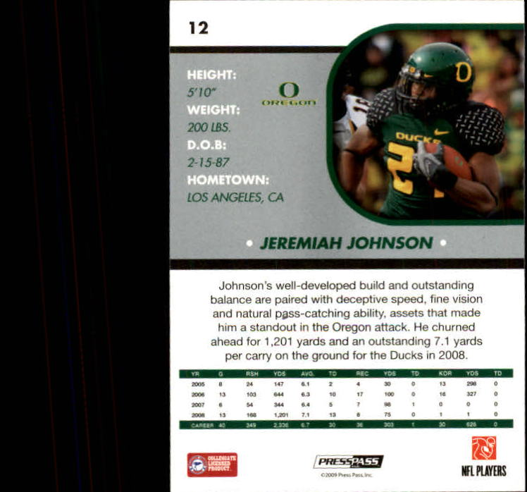 2009 Press Pass SE #12 Jeremiah Johnson back image