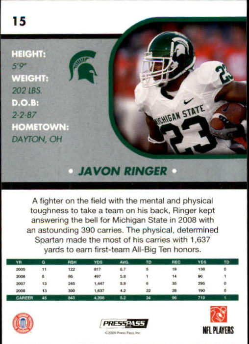 2009 Press Pass SE #15 Javon Ringer back image