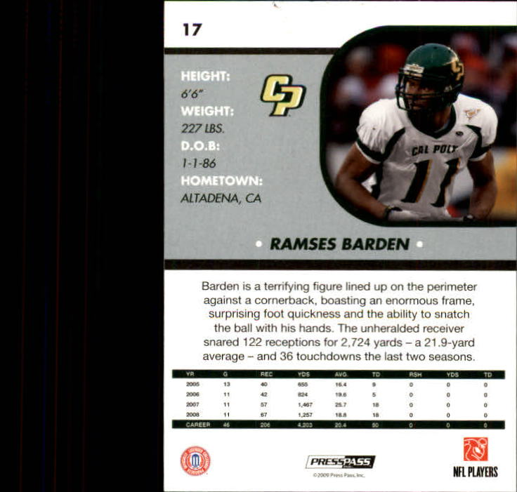 2009 Press Pass SE #17 Ramses Barden back image