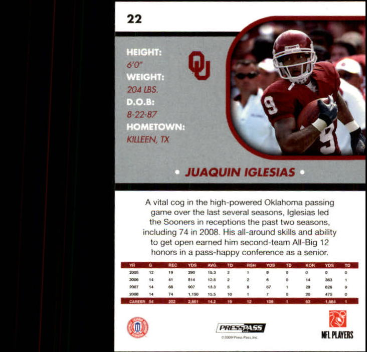 2009 Press Pass SE #22 Juaquin Iglesias back image