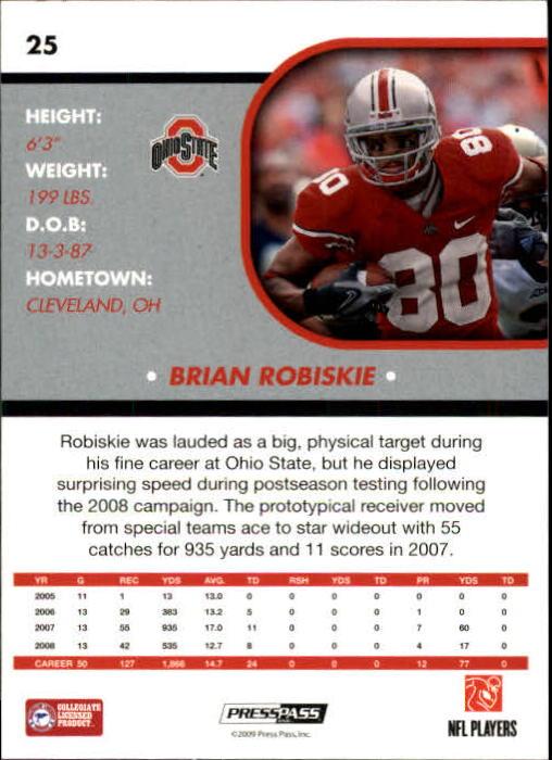 2009 Press Pass SE #25 Brian Robiskie back image