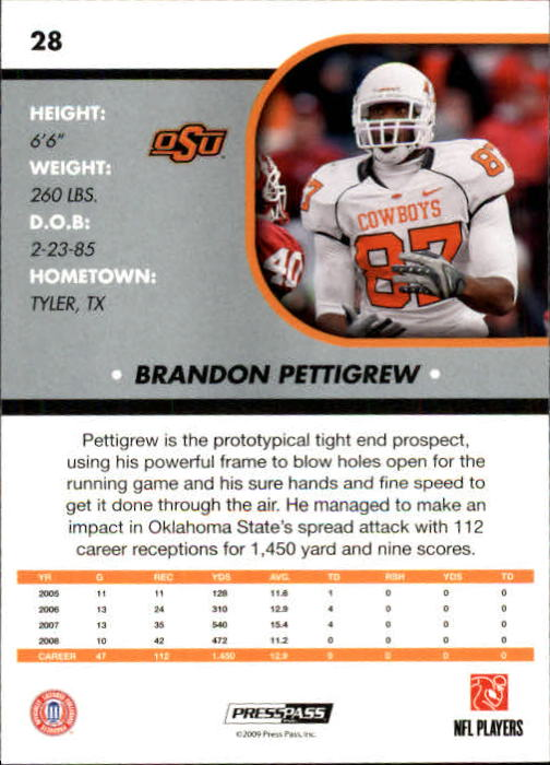 2009 Press Pass SE #28 Brandon Pettigrew back image