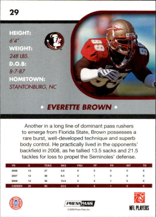 2009 Press Pass SE #29 Everette Brown back image