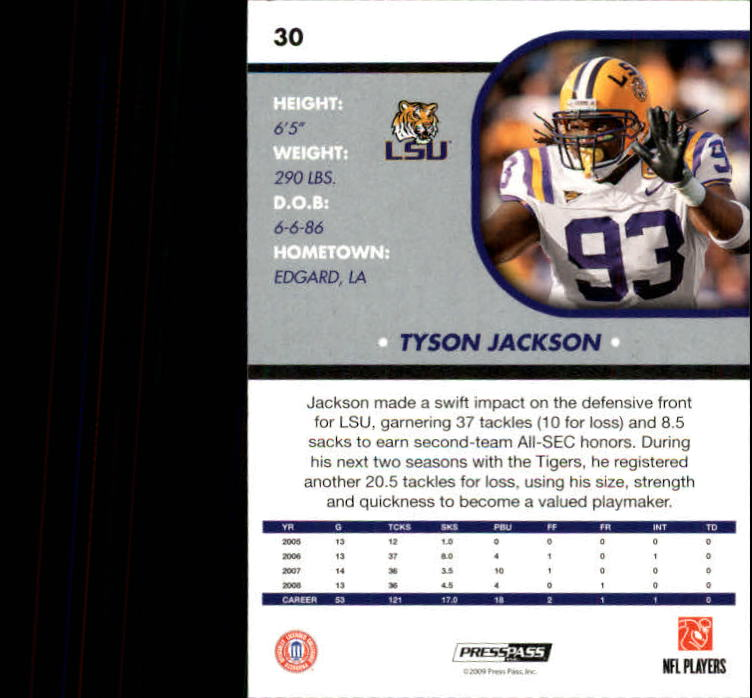 2009 Press Pass SE #30 Tyson Jackson back image