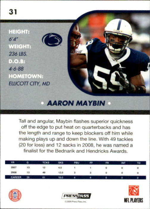 2009 Press Pass SE #31 Aaron Maybin back image