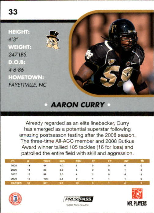 2009 Press Pass SE #33 Aaron Curry back image