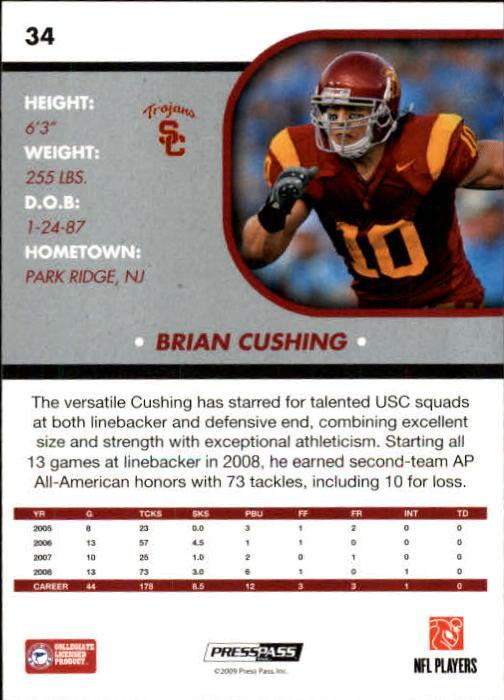 2009 Press Pass SE #34 Brian Cushing back image