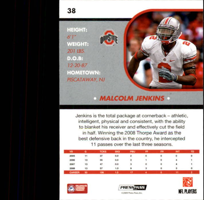 2009 Press Pass SE #38 Malcolm Jenkins back image