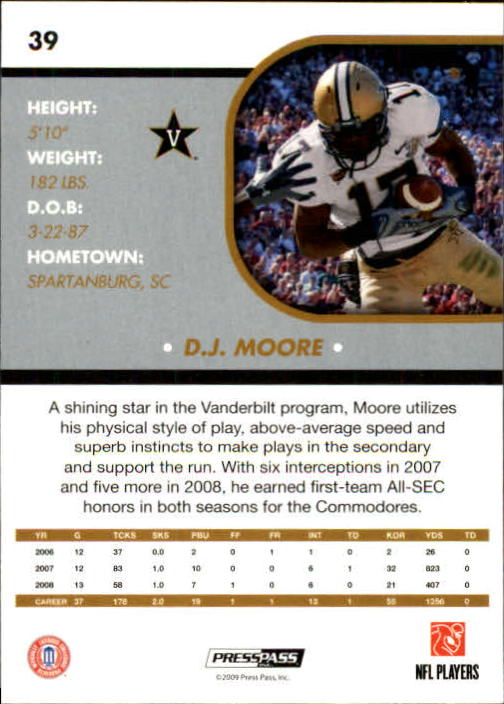 2009 Press Pass SE #39 D.J. Moore back image
