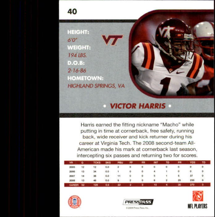 2009 Press Pass SE #40 Victor Harris back image