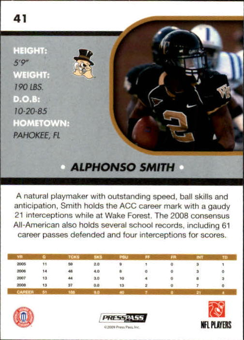 2009 Press Pass SE #41 Alphonso Smith back image