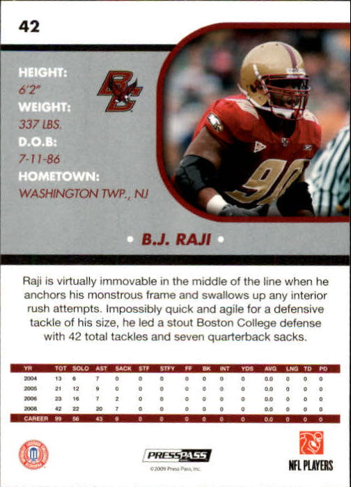 2009 Press Pass SE #42 B.J. Raji back image