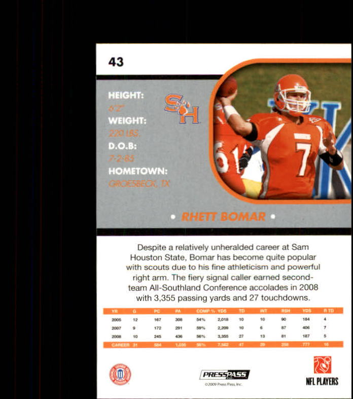 2009 Press Pass SE #43 Rhett Bomar back image