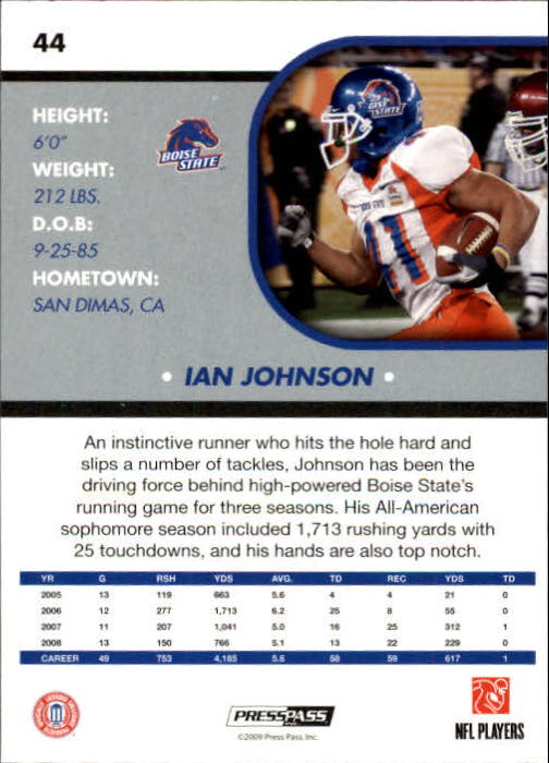2009 Press Pass SE #44 Ian Johnson back image