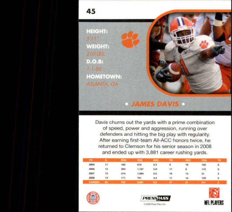 2009 Press Pass SE #45 James Davis back image