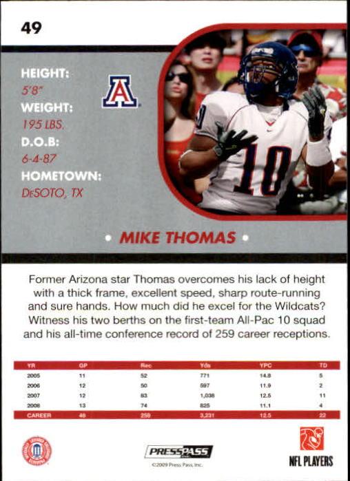 2009 Press Pass SE #49 Mike Thomas back image
