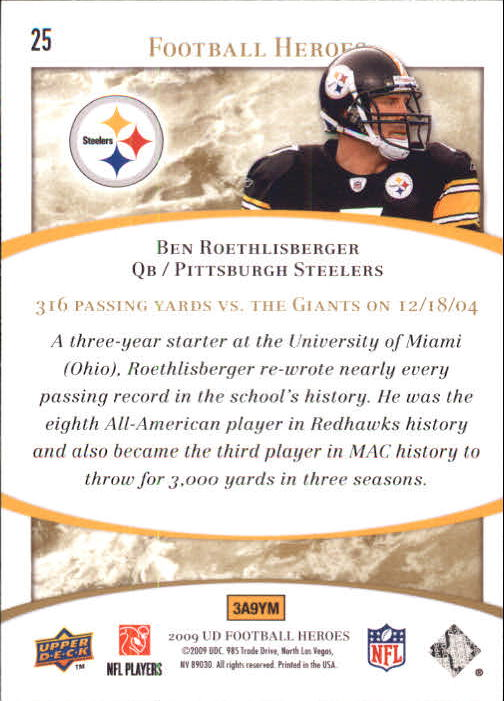 2009-Upper-Deck-Heroes-Football-1-269-Your-Choice-GOTBASEBALLCARDS thumbnail 43