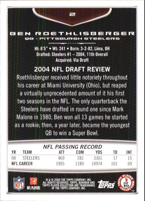 2009 Bowman Draft #2 Ben Roethlisberger back image