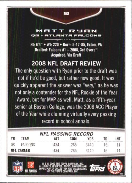 2009 Bowman Draft #9 Matt Ryan back image