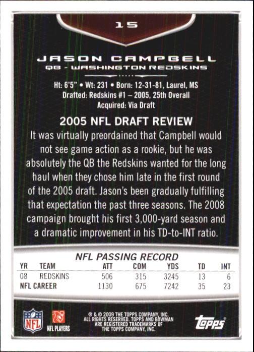 2009 Bowman Draft #15 Jason Campbell back image