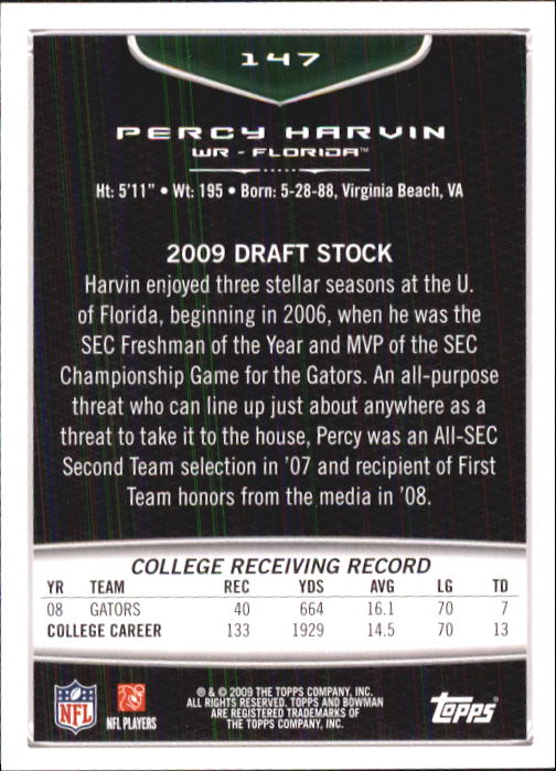 2009 Bowman Draft #147 Percy Harvin RC back image