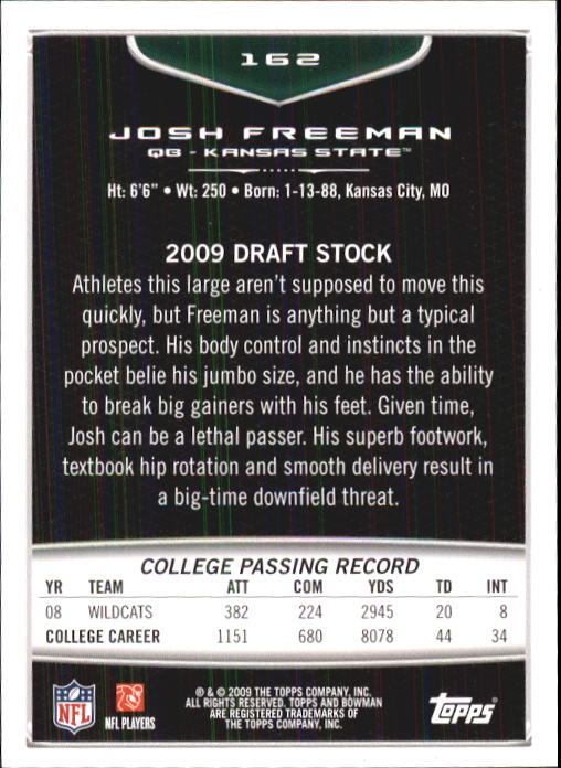 2009 Bowman Draft #162 Josh Freeman RC back image