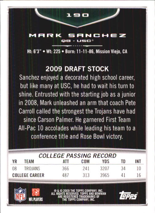 2009 Bowman Draft #190 Mark Sanchez RC back image