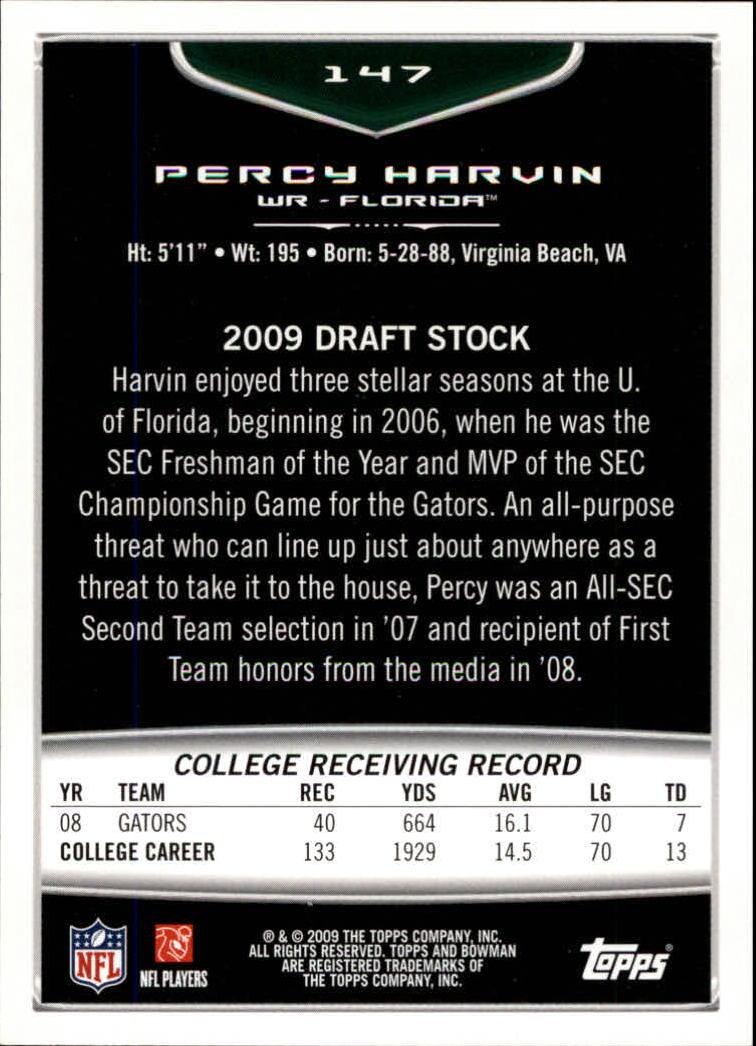 2009 Bowman Draft Orange #147 Percy Harvin back image