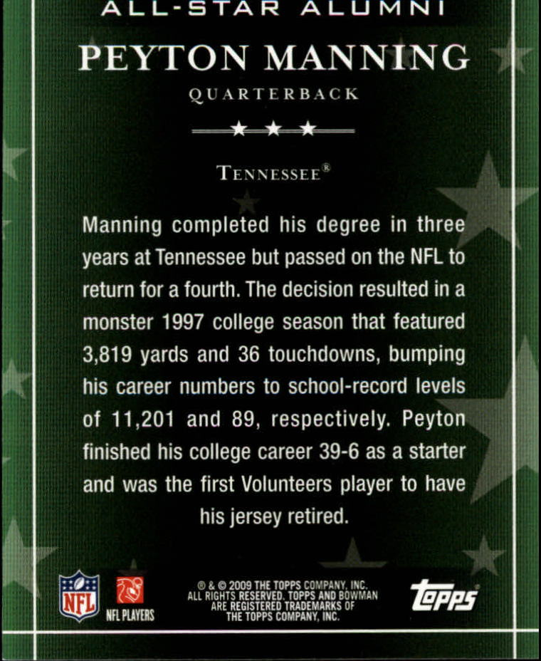 2009 Bowman Draft All-Star Alumni #AA3 Peyton Manning back image