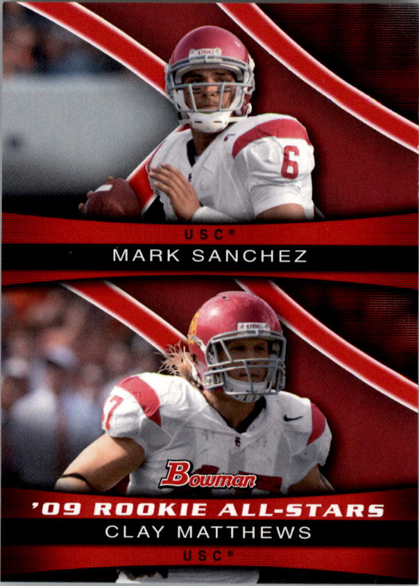 2009 Bowman Draft Rookie All-Stars Combos #ASC5 Mark Sanchez/Clay Matthews