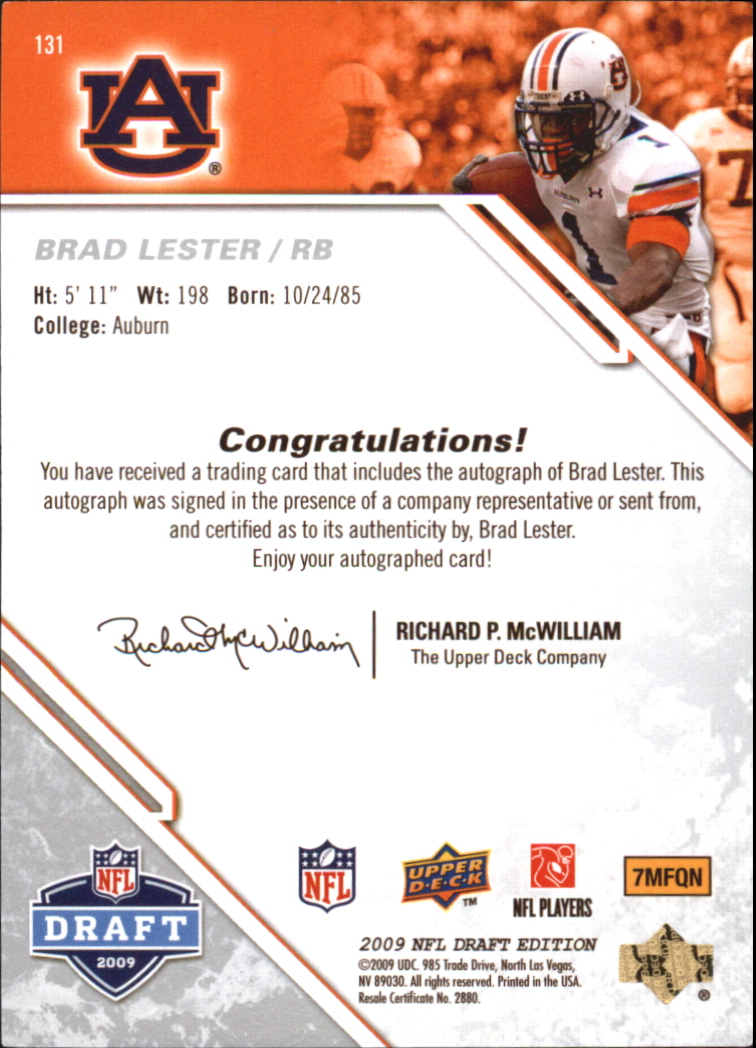 2009 Upper Deck Draft Edition Autographs Silver #131 Brad Lester back image