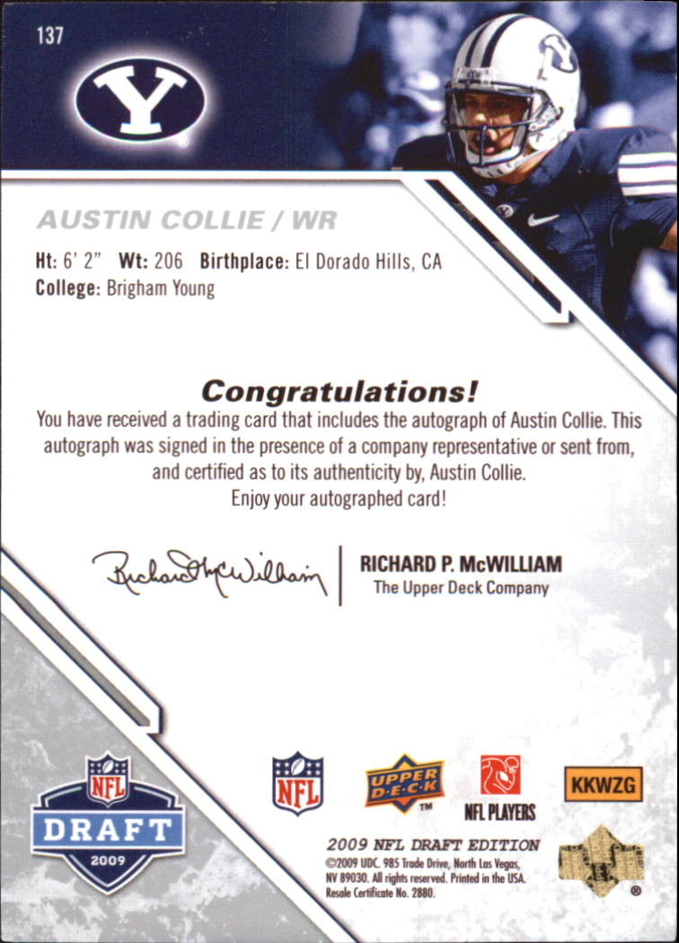 2009 Upper Deck Draft Edition Autographs Silver #137 Austin Collie back image