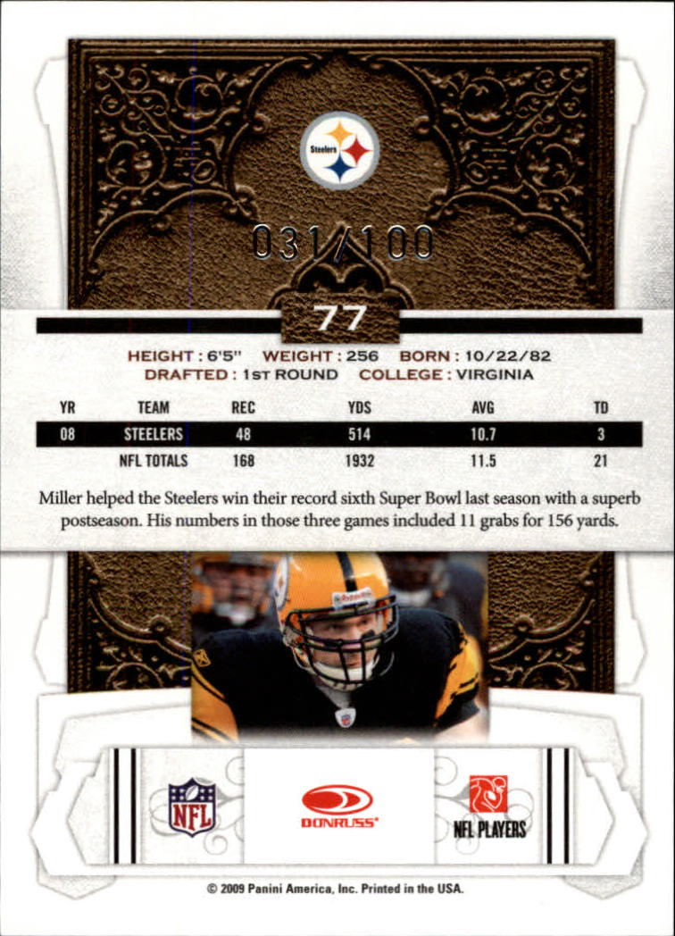 2009 Donruss Classics Timeless Tributes Silver #77 Heath Miller back image