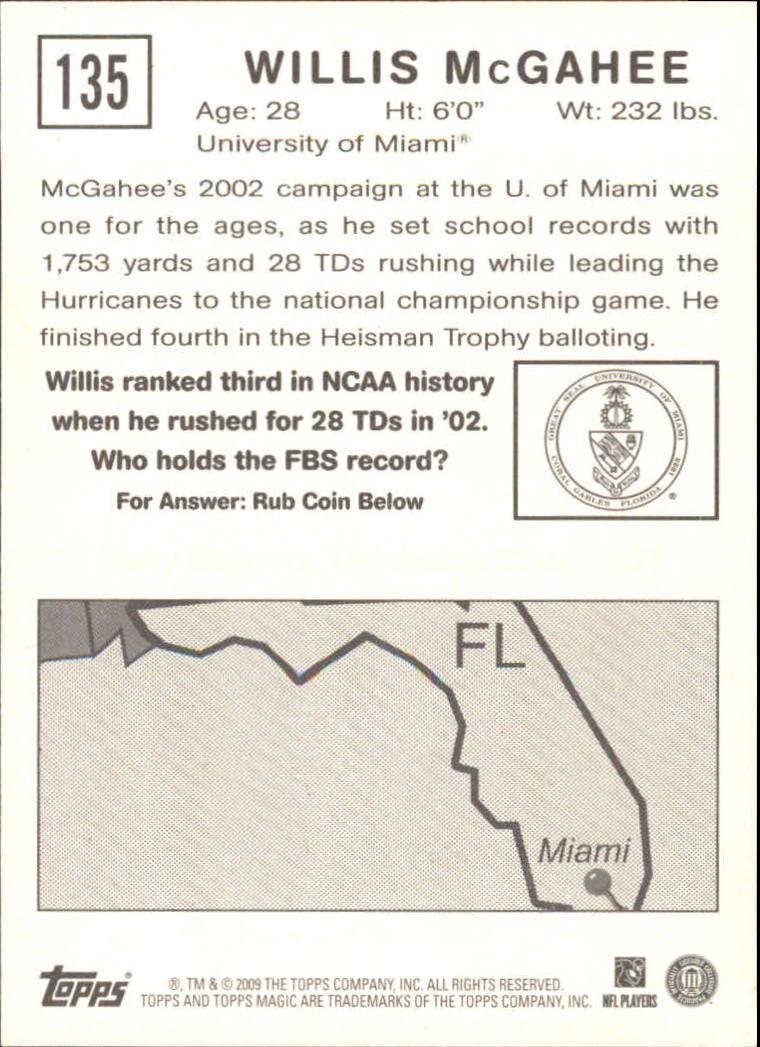 2009 Topps Magic #135 Willis McGahee back image