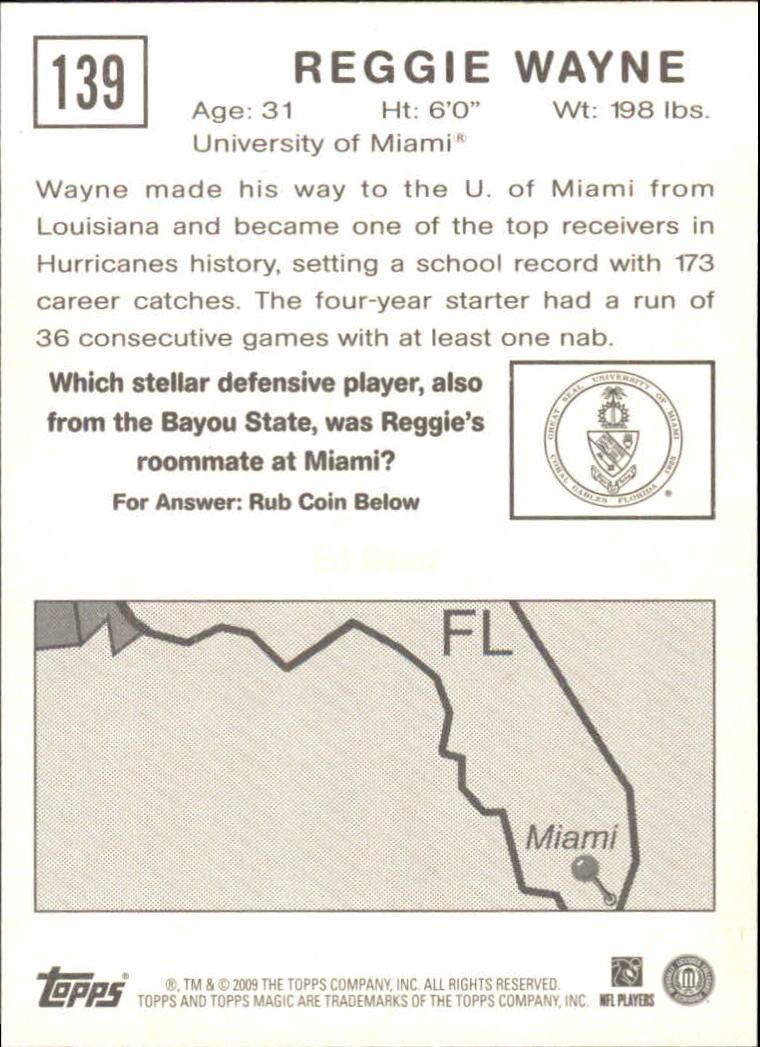 2009 Topps Magic #139 Reggie Wayne back image
