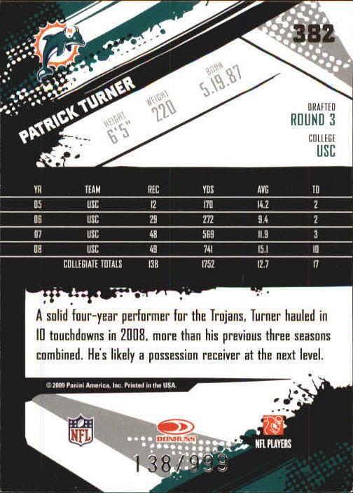 2009 Score Inscriptions #382 Patrick Turner RC back image