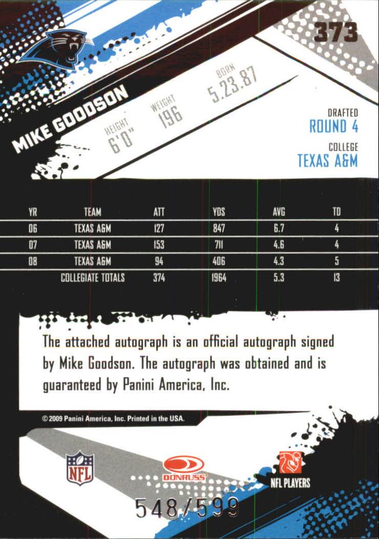 2009 Score Inscriptions Autographs #373 Mike Goodson/599 back image