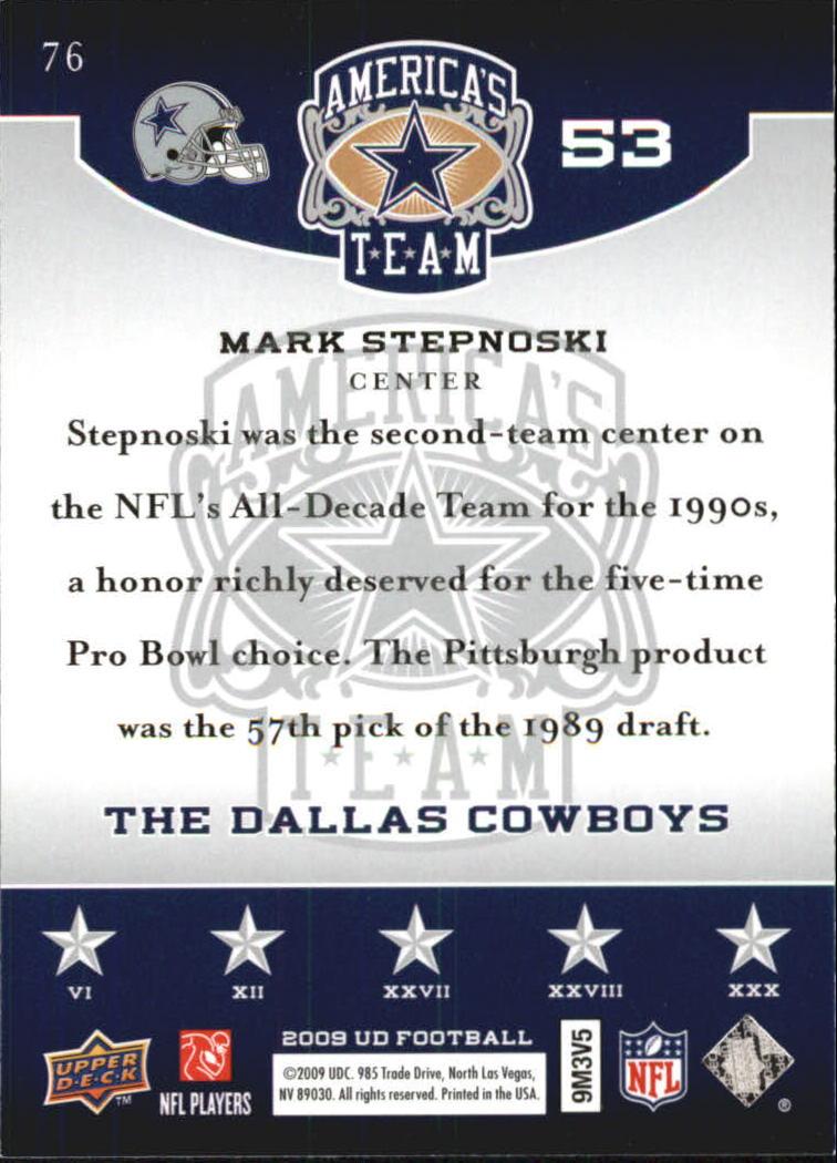2009 Upper Deck America's Team #76 Mark Stepnoski back image