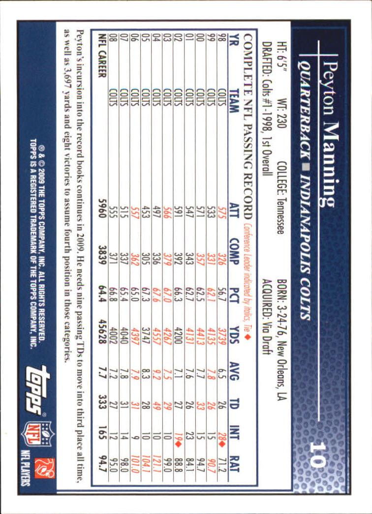 2009 Topps #10 Peyton Manning back image